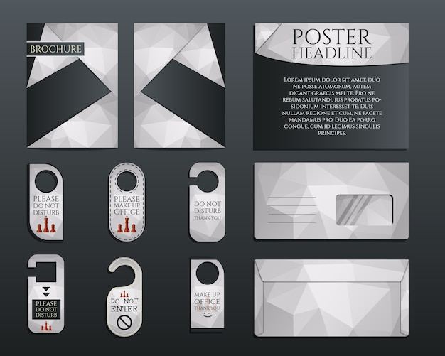 Business corporate branding identity set. brochure and flyer design template, envelope, stickers in polygonal style concerning to management, consulting theme. illustration Premium Vector