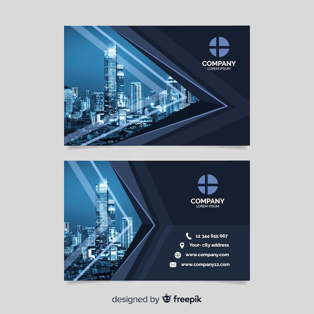 Business corporate card template with photo Free Vector