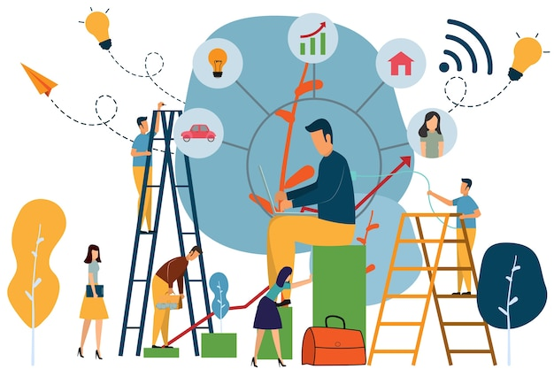 Business corporate ladder, the concept of career growth, Premium Vector