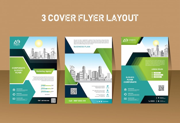 Business corporative modern flyer template design Premium Vector
