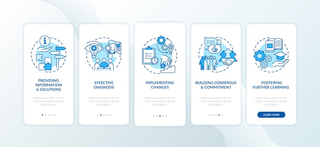 コンセプトを備えたモバイルアプリページ画面のオンボーディングビジネスカウンセリング段階。 Premiumベクター