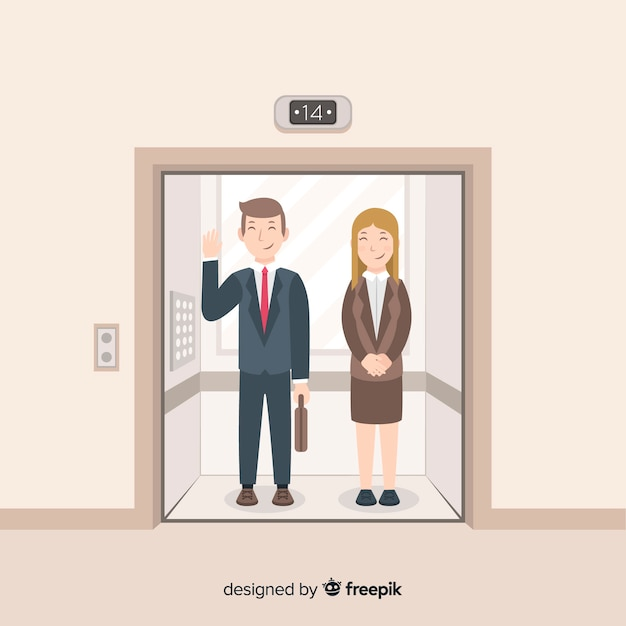 Business couple in elevator Free Vector