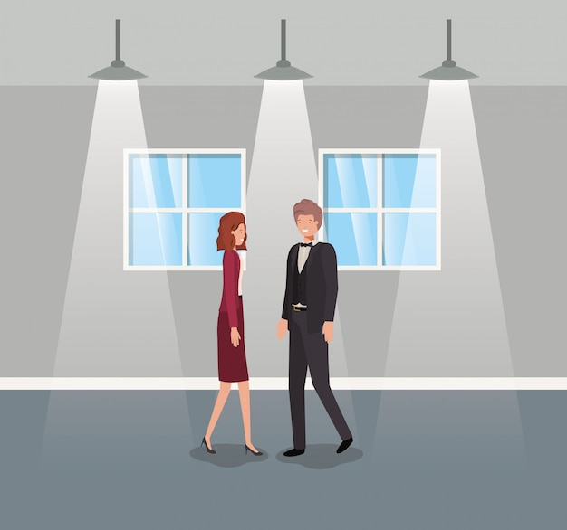 Business couple in corridor office Premium Vector