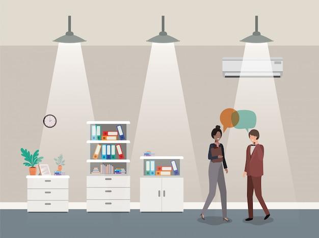 Business couple talking in corridor office Premium Vector