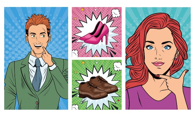 Business couple with shoes accessories pop art style Premium Vector