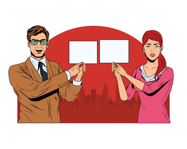 Business couple with signboard Premium Vector