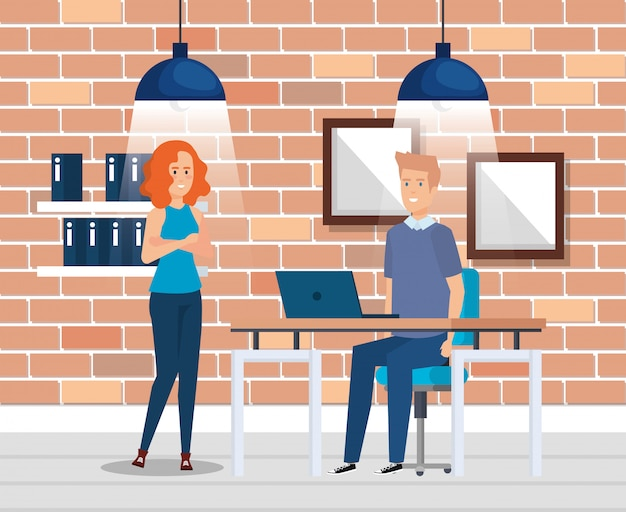 Business couple in the workplace Free Vector