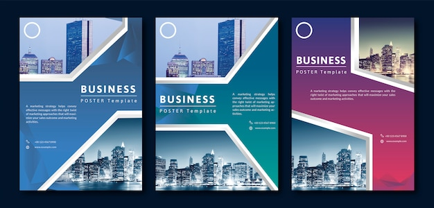 Business cover template set Premium Vector