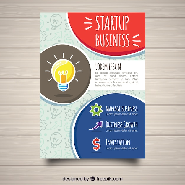 Business cover template with bulb Free Vector