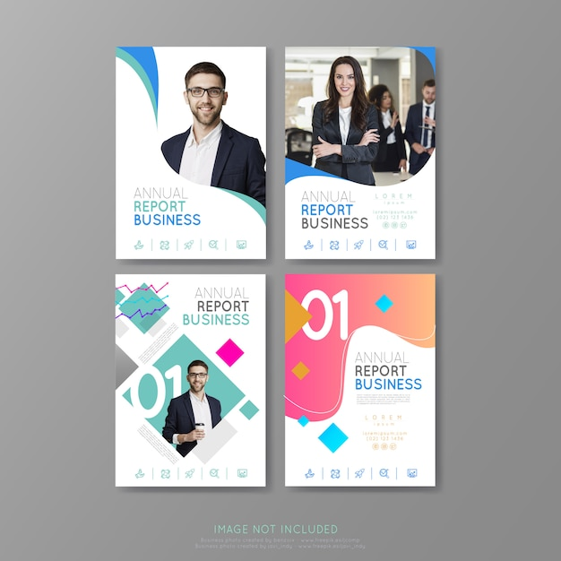 Business covers annual report brochure geometric forms Premium Vector