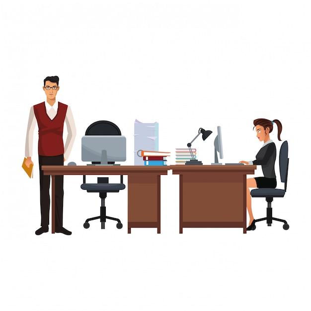 Business coworkers executives cartoon Premium Vector