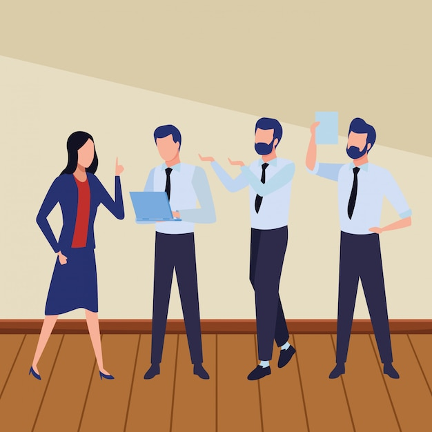 Business coworkers with office supplies Free Vector