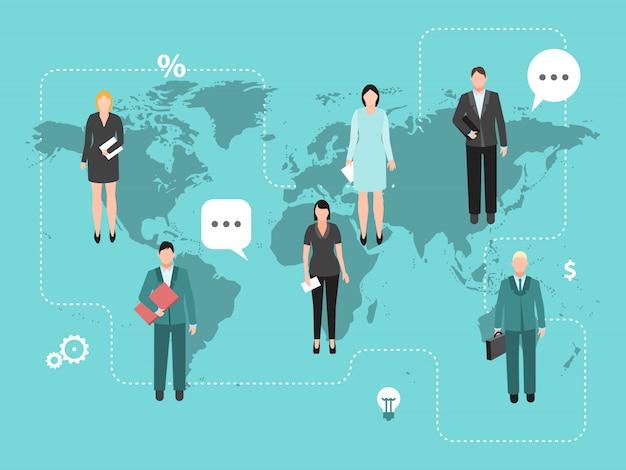 世界地図のベクターイラストをコワーキングビジネス。 Premiumベクター