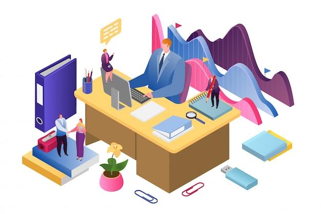 Бизнес-креативная аналитика и стратегия успешного анализа данных изометрической иллюстрации. финансовый отчет и стратегия. рост инвестиций в бизнес, маркетинг и менеджмент. Premium векторы