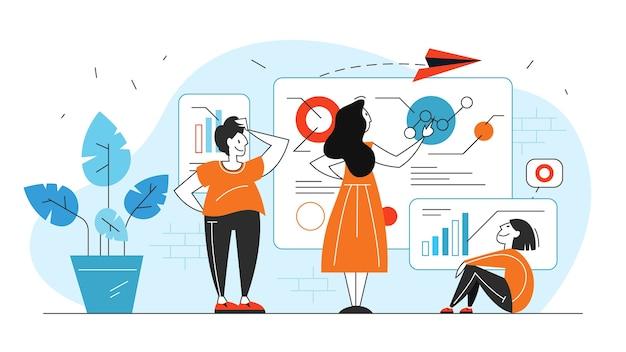 비즈니스 데이터 분석 및 분석 개념 그림 프리미엄 벡터