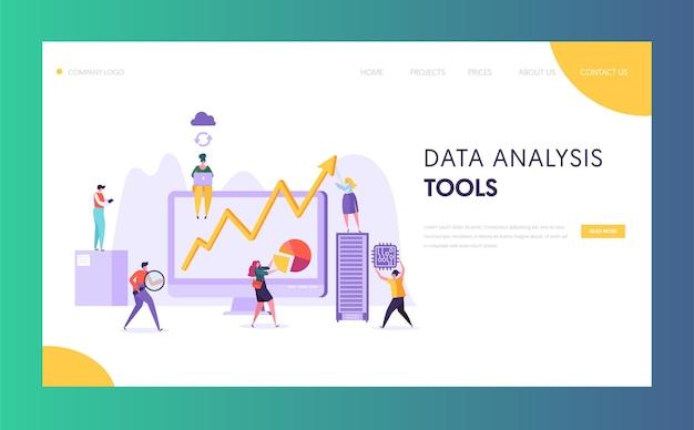 ビジネスデータ分析ソフトウェアのランディングページ Premiumベクター