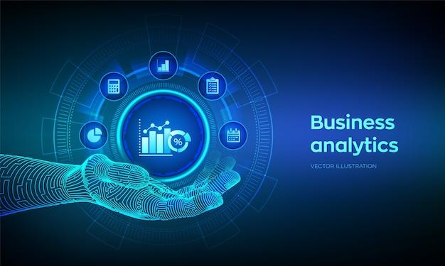 ロボットの手でビジネスデータ分析アイコン。仮想画面上のロボットプロセスの自動化の概念。 Premiumベクター