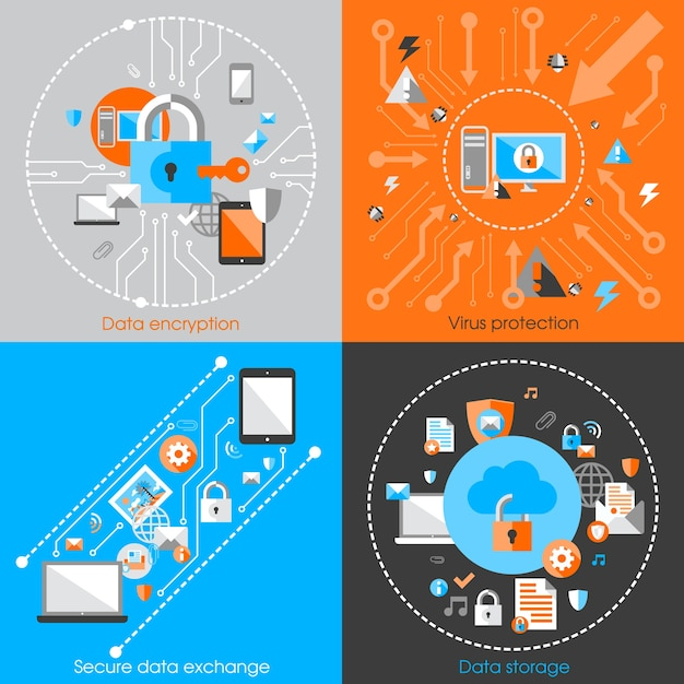 Business data protection technology and cloud\ network security concept infographic design elements vector\ illustration
