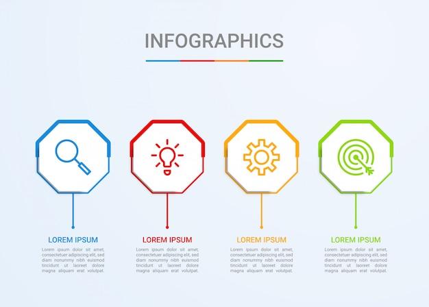 Визуализация бизнес-данных, шаблон инфографики с 4 шагами Premium векторы