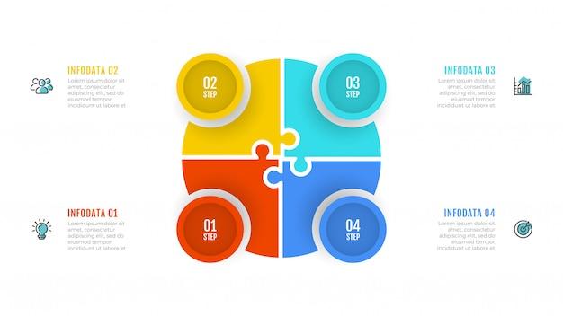 Визуализация бизнес-данных. инфографика с 4 вариантами. Premium векторы