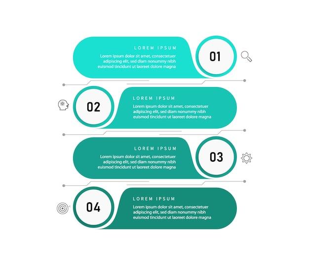비즈니스 데이터 시각화. 프로세스 차트 요소. 단계 옵션, 부품 또는 프로세스가있는 다이어그램이있는 추상 그래프. 비즈니스 템플릿입니다. 인포 그래픽에 대한 창의적인 개념. 프리미엄 벡터