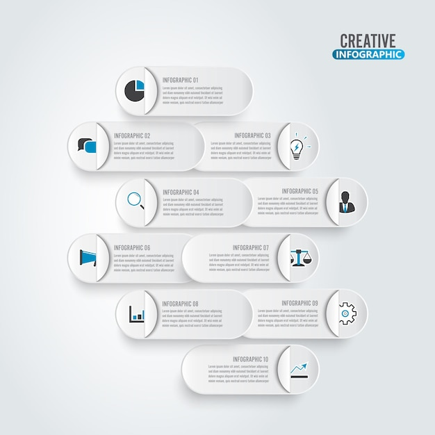 Business data visualization. process paper chart. abstract elements of graph, diagram with 10 steps. Premium Vector