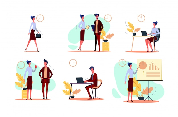 Business day set Free Vector