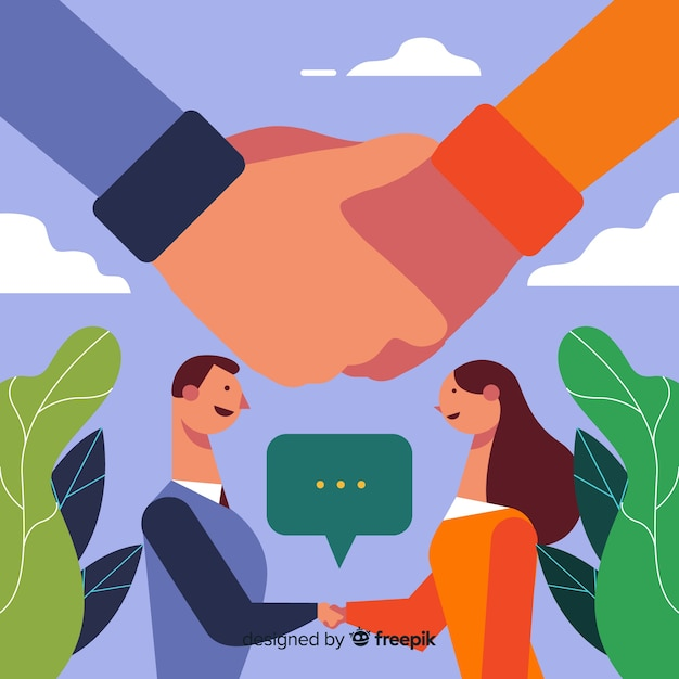 Business deal concept. character design shaking hands. Free Vector