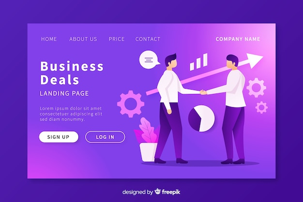 Business deals landing page template Free Vector