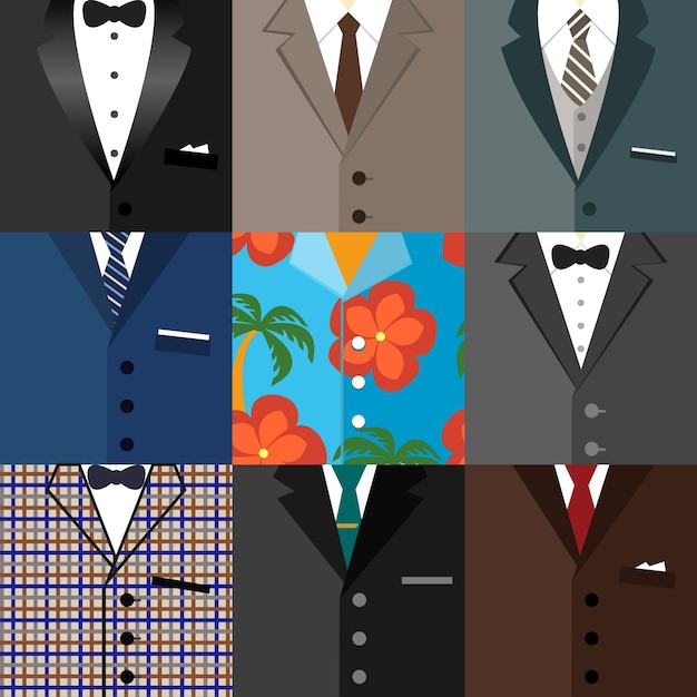 Icone decorative aziendali set di classici moderni dude hipster tuxedo abiti con cravatte archi e una illustrazione vettoriale camicia aloha Vettore gratuito