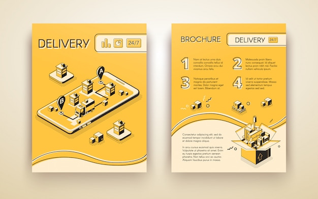Business delivery, logistic startup mobile service advertising brochure Free Vector