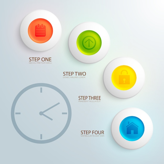 Business design concept with image of clock and colorful icons in circles flat Free Vector