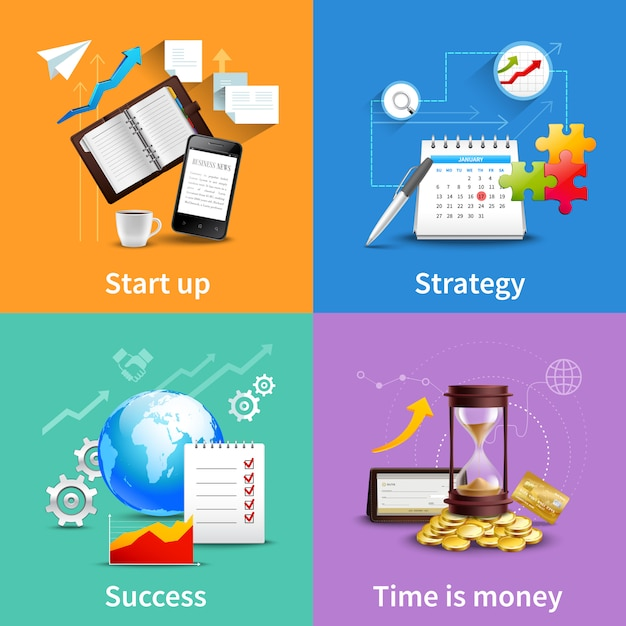 Business design concepts set Free Vector