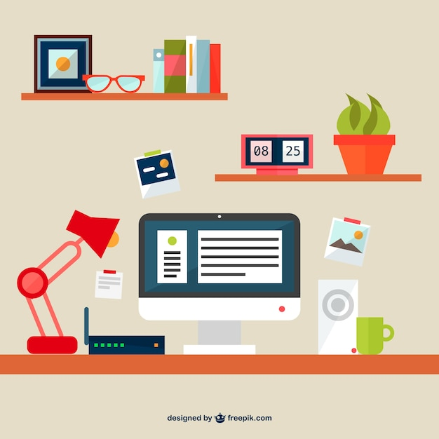 Business desk with router and computer Free Vector