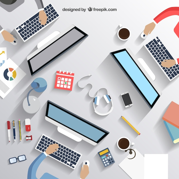Business desk Free Vector