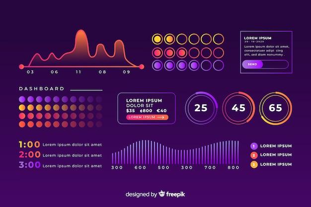 Business development dashboard charts template Free Vector