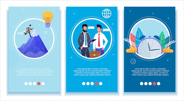 Business development media mobile banners set Premium Vector