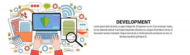 Business development web banner template corporate success concept Premium Vector