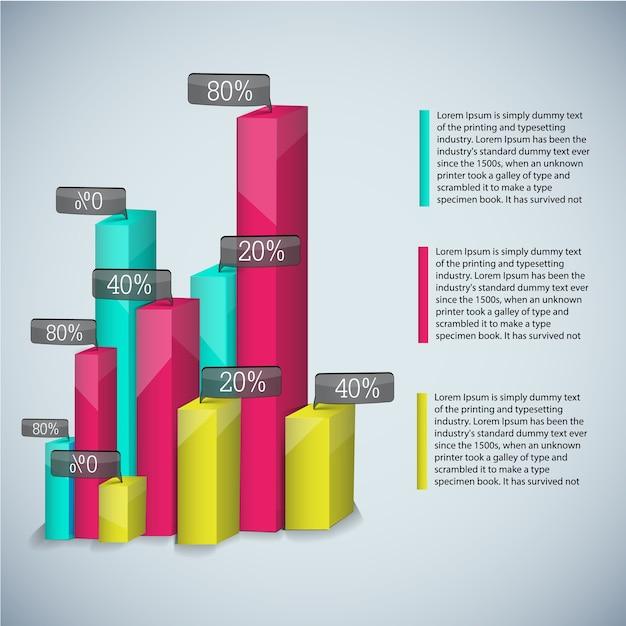 Шаблон бизнес-диаграммы с цветными реалистичными диаграммами для презентаций и с описаниями Бесплатные векторы