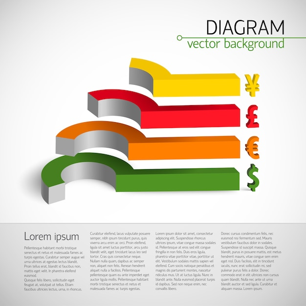 Business diagram template with colorful 3 d chart elements with exchange rates Free Vector