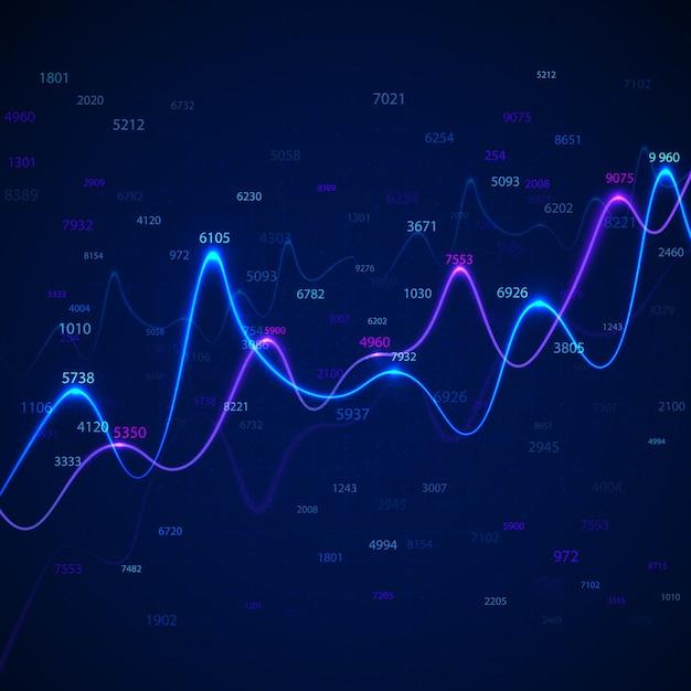 Бизнес-диаграммы и диаграммы на синем фоне со случайными числами. Premium векторы