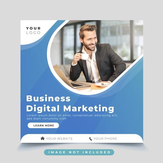 ビジネスデジタルマーケティングソーシャルメディア投稿テンプレート Premiumベクター