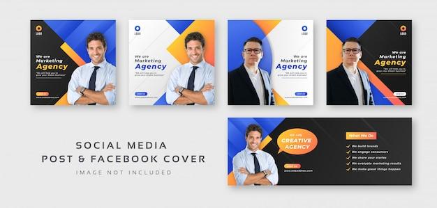 Бизнес цифровой маркетинг в социальных сетях с шаблоном обложки facebook Premium векторы