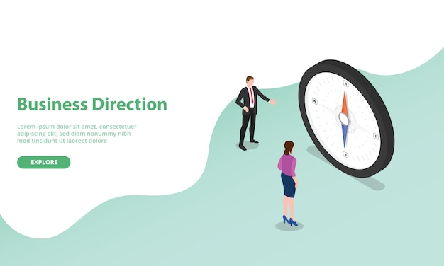 Business direction discussion with compass as symbol with isometric modern style for website template or landing homepage Premium Vector