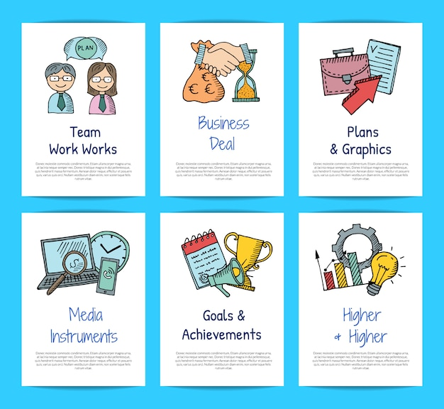 Business doodle icons card templates set Premium Vector