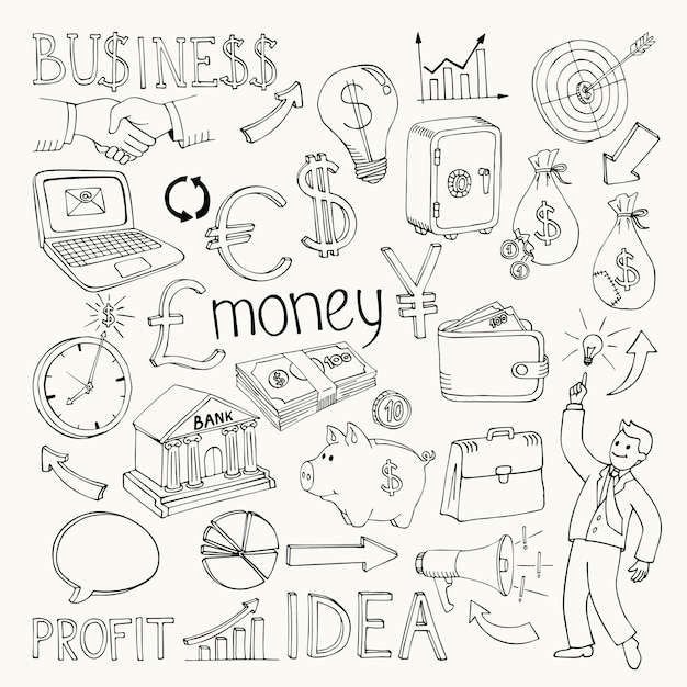 Business doodles, hand doodle vector illustration on white Free Vector