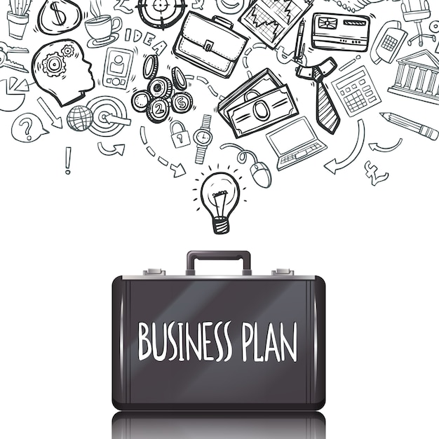 Business doodles set Free Vector