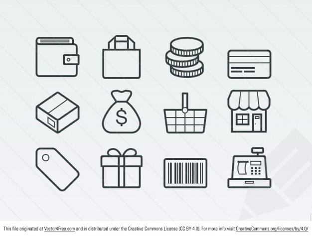 Business ecommerce icons vector set Free Vector