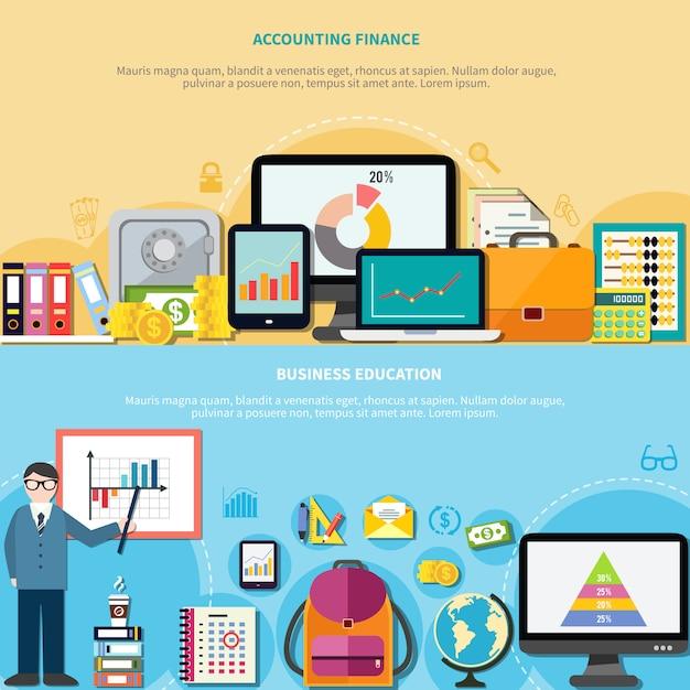 Бизнес-образование и бухгалтерский учет финансы баннеры Бесплатные векторы