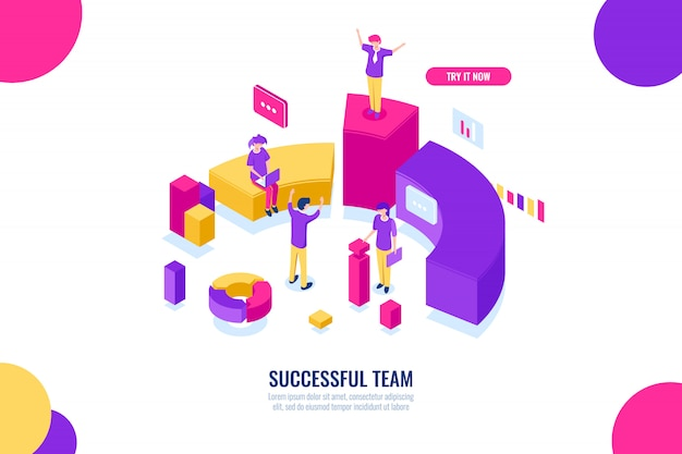 Business education and consultancy, success team work, leader and leadership isometric concept, data Free Vector